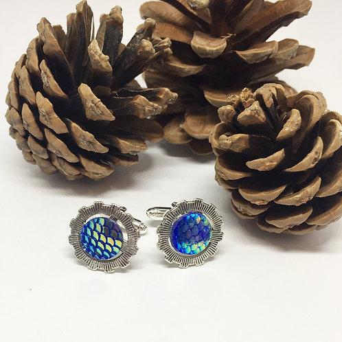 Grey Cog and blue scales cufflinks
