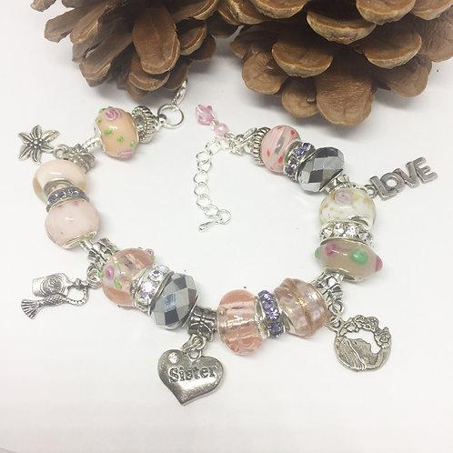 Sister Pale Pink Charm Bracelet