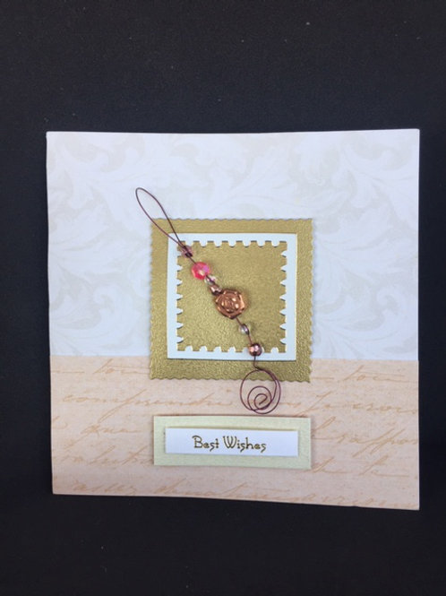 Gold layered square 'Best Wishes' card
