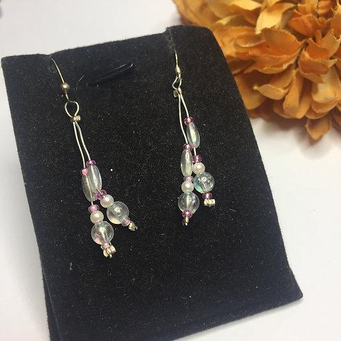 Double strand pink long drop earrings
