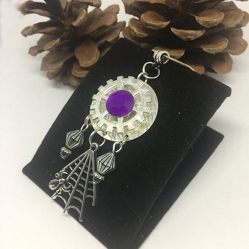 Purple Crystal Spiders Web pendant and chain