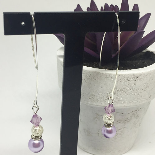 Lilac Pearl long drop earrings