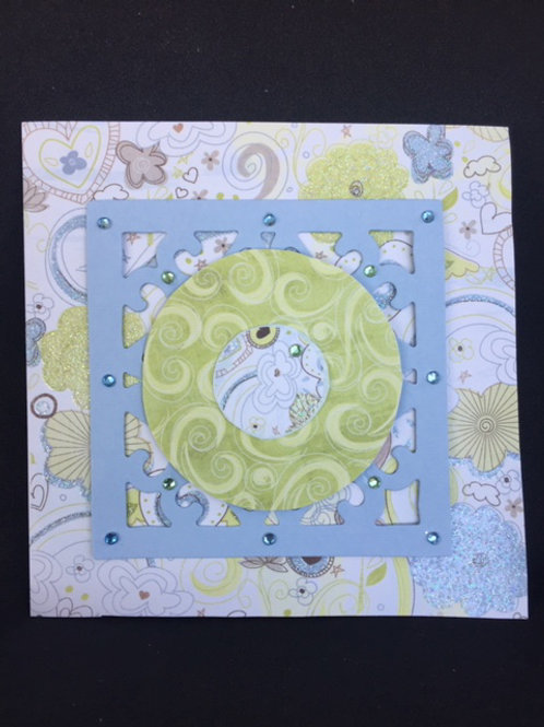 Lime Green and blue beaded square Blank card