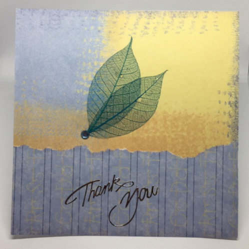 Blue and Yellow Square Thank You Card
