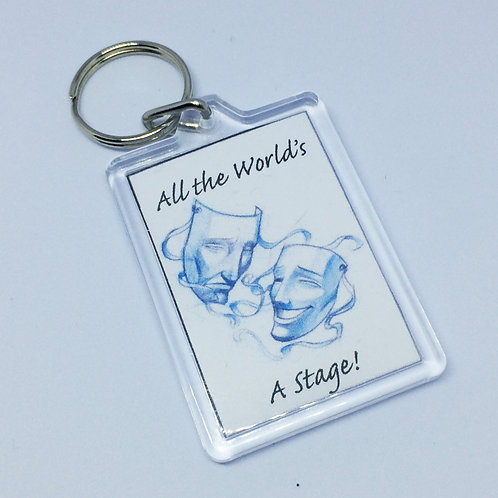 All The Worlds a Stage Double Sided Keyring