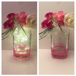 Hot Pink and white Floral LED Gin bottle 03