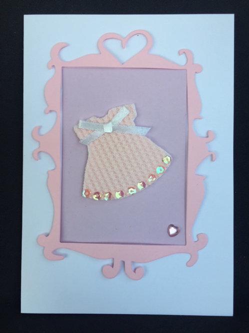 Pale Pink new babies dress card