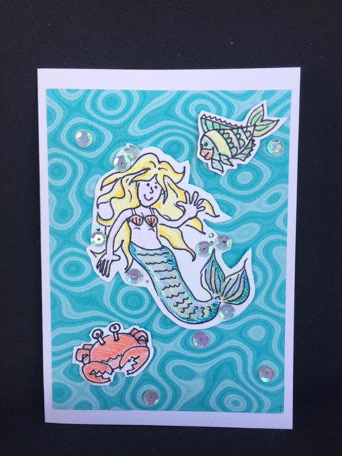 Turquoise Mermaid blank card