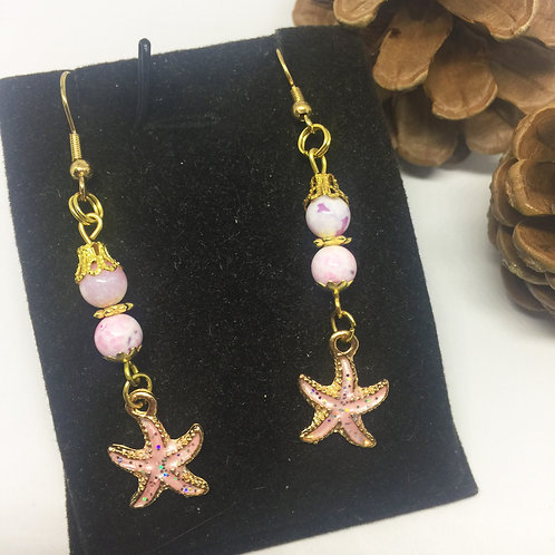 Pink Enamel Starfish drop earrings
