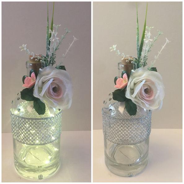 Pink Floral LED Gin Bottle 01