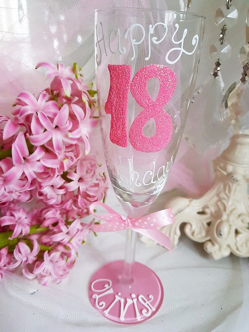 Bespoke Hand Painted Birthday Champagne flute Glass