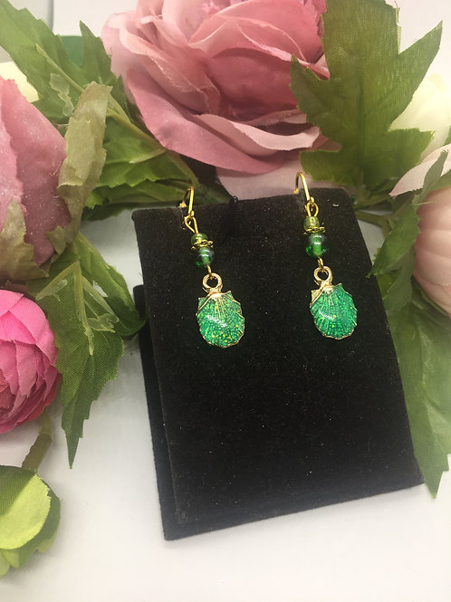 Green Shell drop earrings