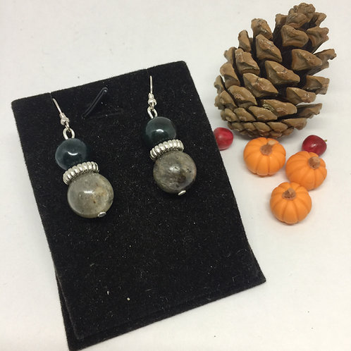 Halloween Grey and Dark Green Agate drop earrings