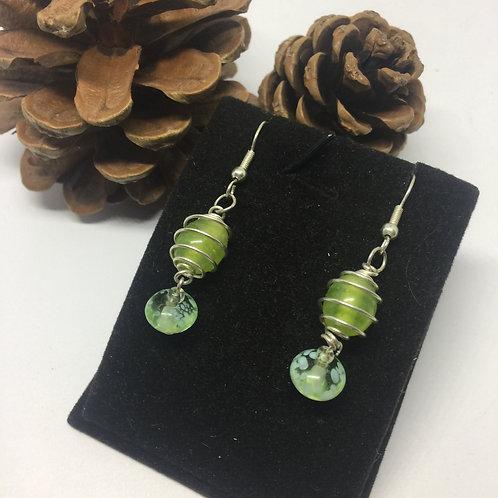 Lime Green and silver drop earrings