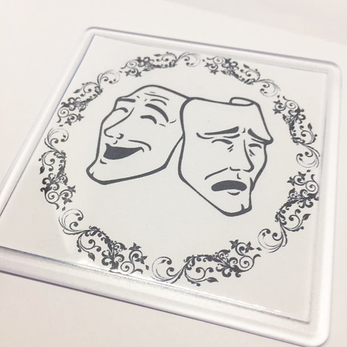 Theatre Masks in a Circle Coaster