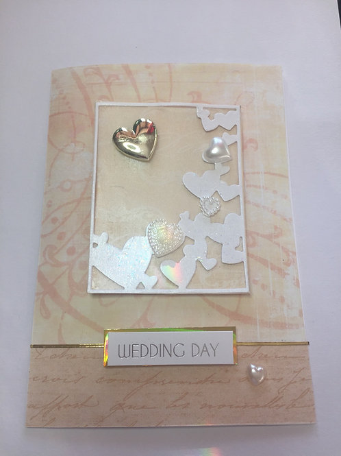 Gold and pearl hearts large wedding card