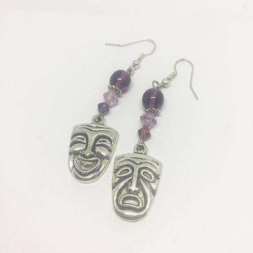Comedy & Tragedy Masks Large drop earrings