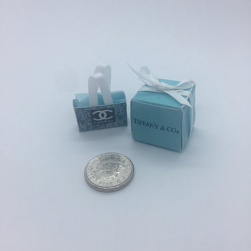 Miniature Tiffany box and Chanel bag