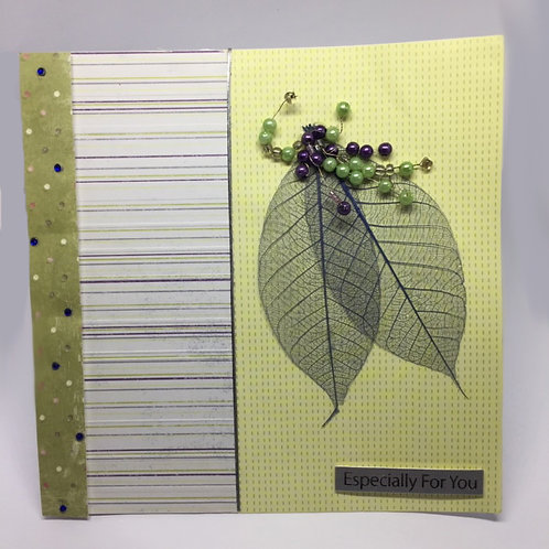 Lime and brown beaded 'Especially for You' square card