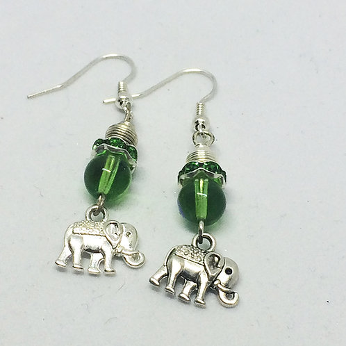 King & I 'white elephant' drop earrings