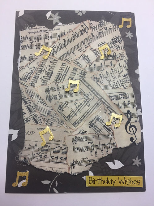 Music notes Birthday Wishes card