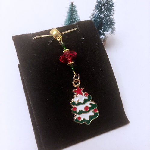 Christmas Red and Green Christmas Tree necklace