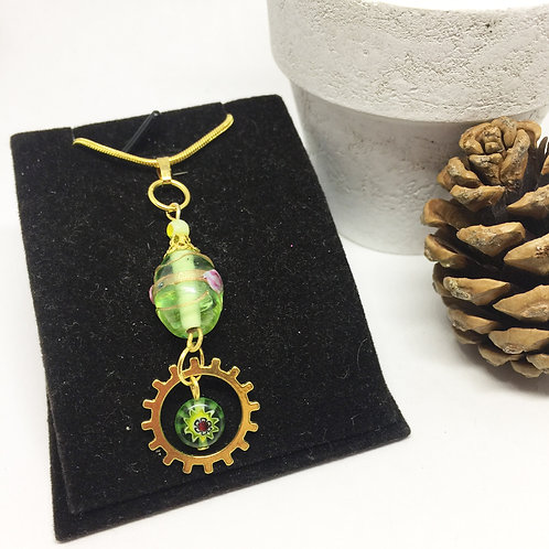 Green and Gold pendant with cog