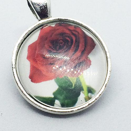 Red Rose Round Pendant