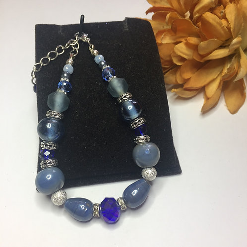 Blue crystal and semi precious stones bracelet