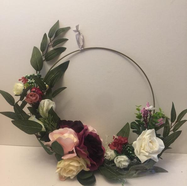 Pink and Maroon 30cm Floral Hoop