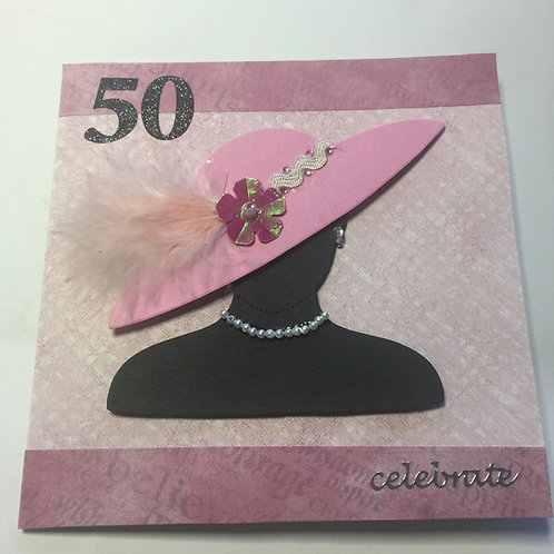 Lady with a hat 50th birthday 'celebrate' square card