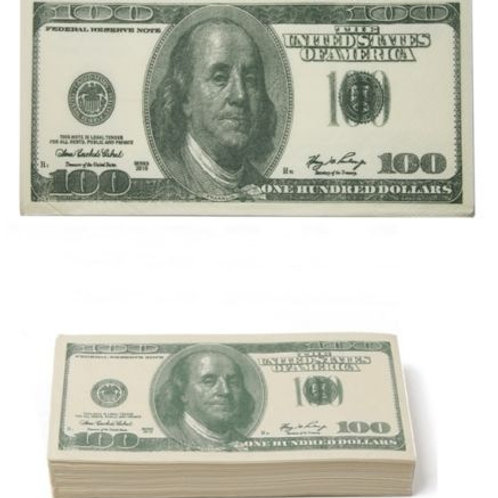 Sweet Charity Big Spender 10 x 100 Dollar printed Tissues