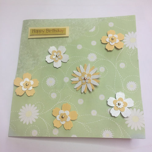 Green and Yellow Flowers Birthday Square Birthday card