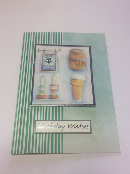 Green Pub Birthday Wishes mens card