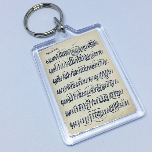 Music Stave Double Sided Keyring