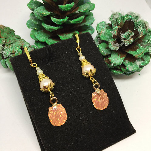 peach shell drop earrings