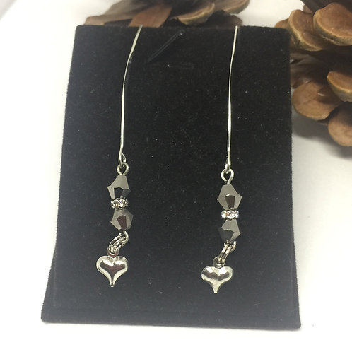 SIlver Heart and Smoke Grey Crystal long bow drop earrings