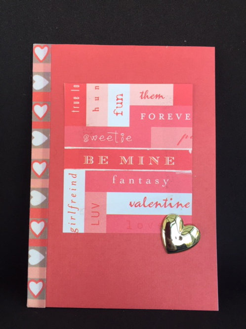 Red 'Be Mine' Gold Heart Valentine Card