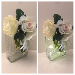 White Floral Square LED Gin bottle 07
