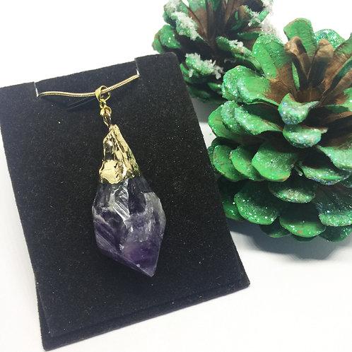 natural blue amethyst & gold pendant