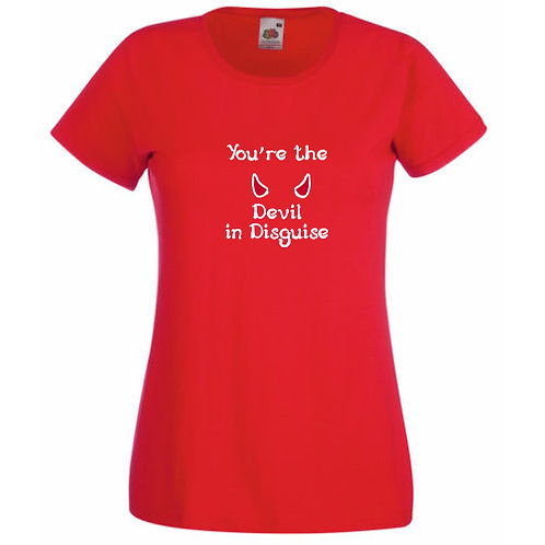 """All Shook Up Ladies Fitted """"Devil in Disguise"""" T-shirt"""