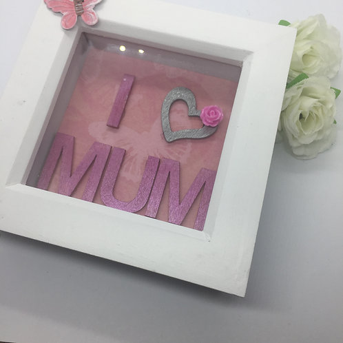 'I love Mum pink small butterfly Shadow Box