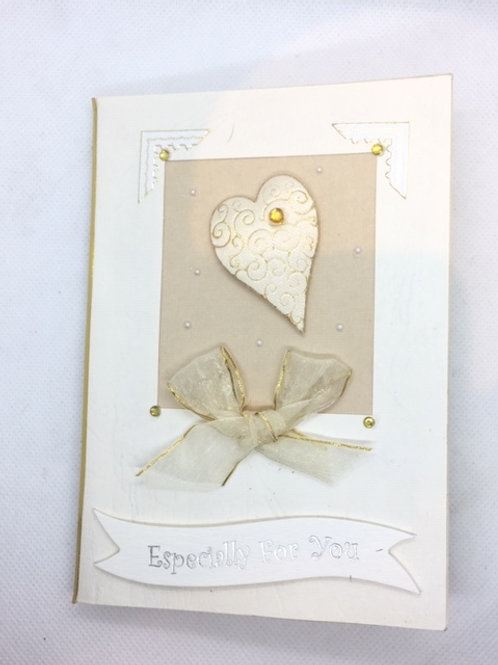 Gold Heart and bow Especially for You card