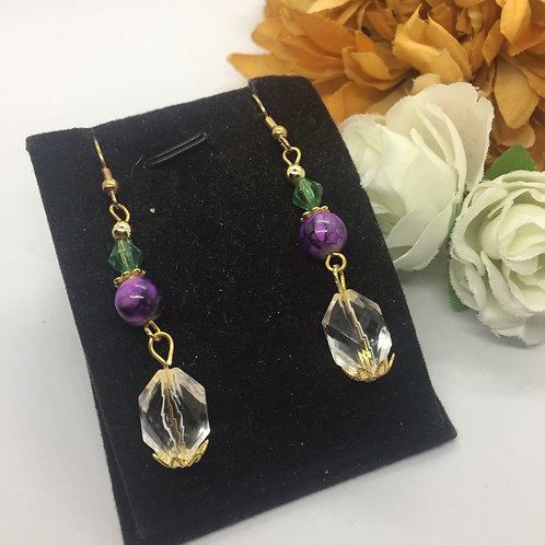 Purple and green and Crystal drop earrings