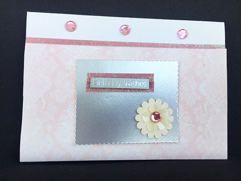 Pale Pink white daisy landscape birthday card