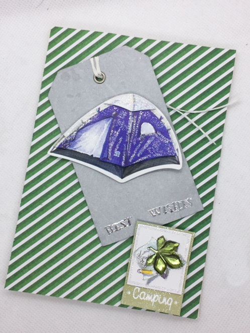 Green stripe best wishes camping card