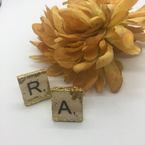 Gold Leaf decorated Scrabble Letters Cufflinks