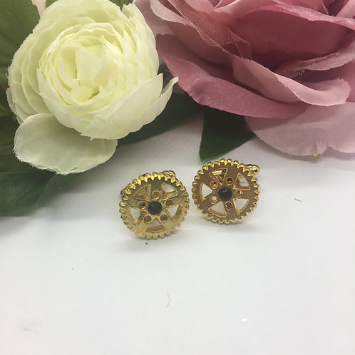 Gold cog with jet crystal cufflinks