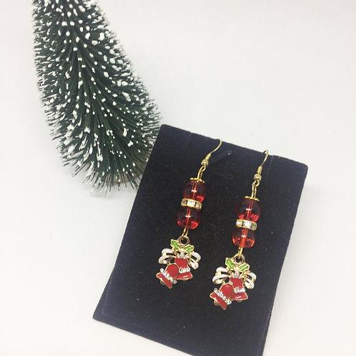 Christmas Red Enamel Bells drop earrings