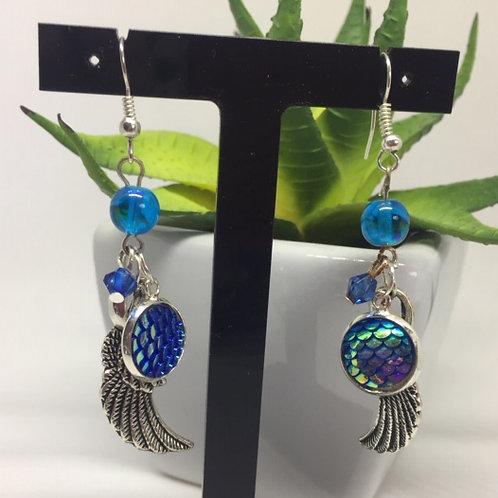 Blue Dragon Wings Earrings